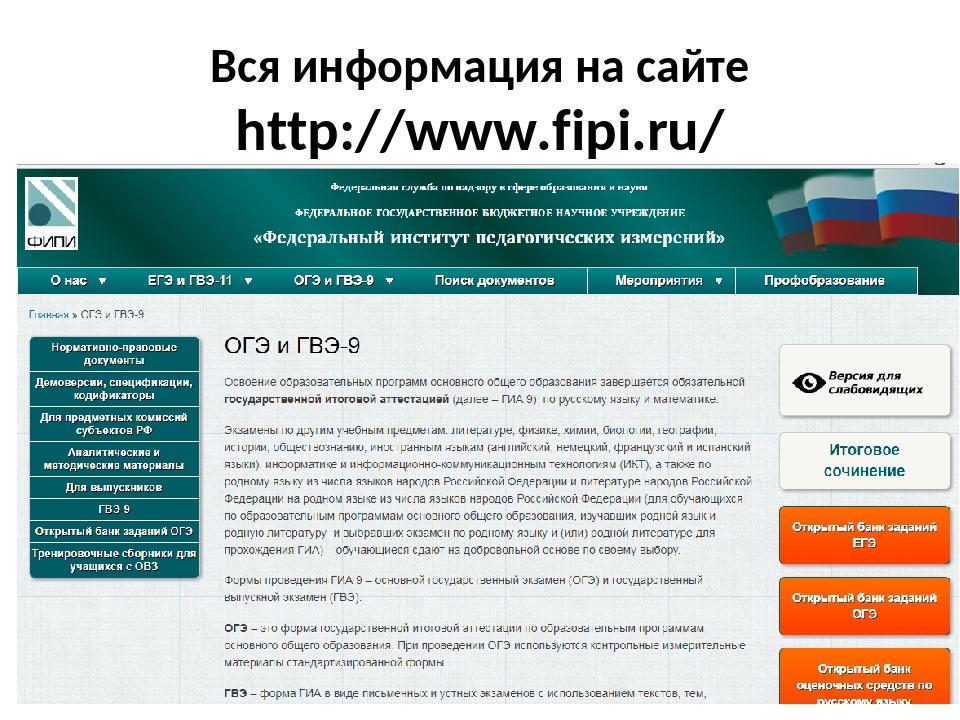 Вся информация на сайте http://www.fipi.ru/