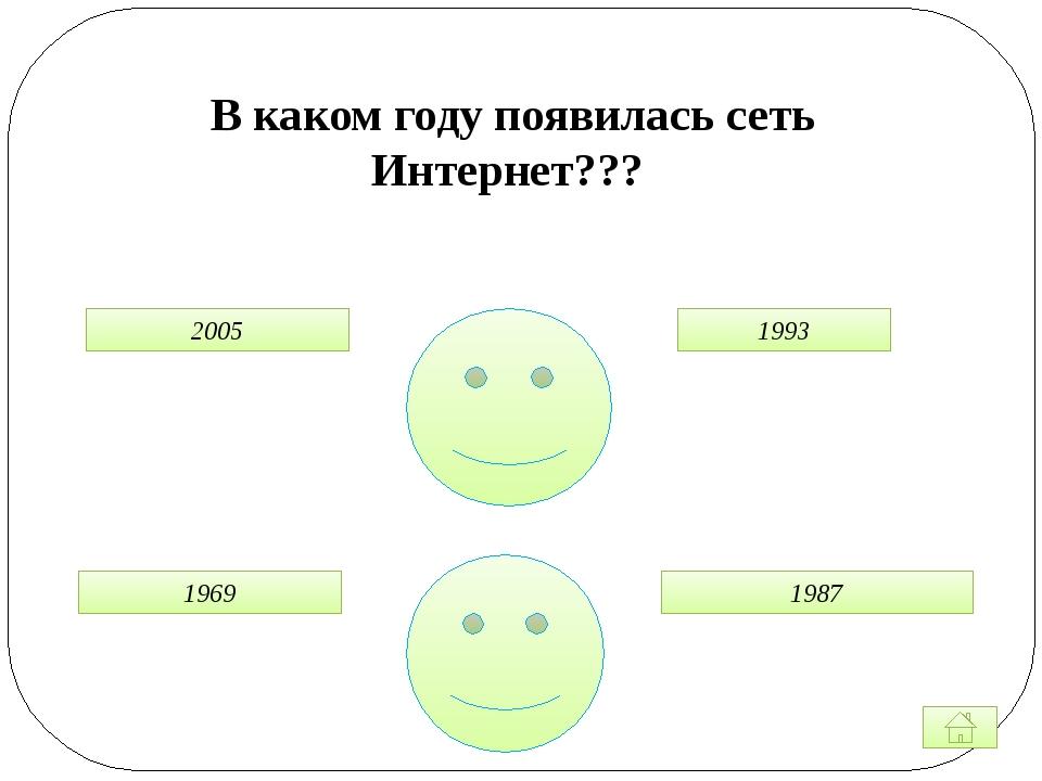 В каком году появилась сеть Интернет??? 1969 2005 1993 1987