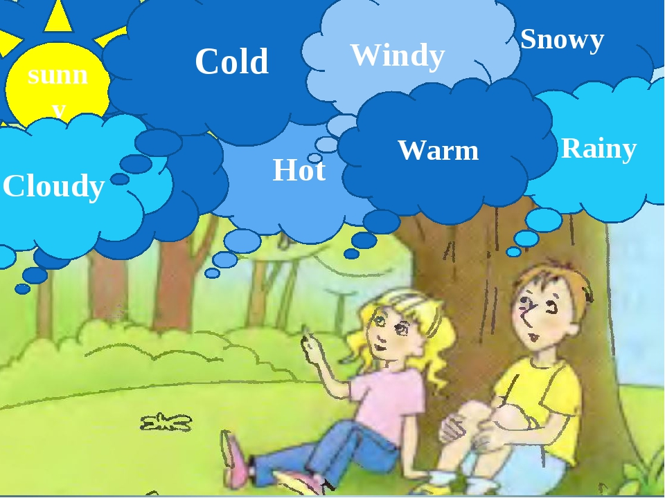 sunny Snowy Hot Rainy Cloudy Cold Windy Warm