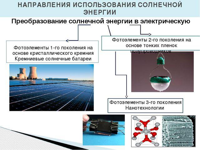 НАПРАВЛЕНИЯ ИСПОЛЬЗОВАНИЯ СОЛНЕЧНОЙ ЭНЕРГИИ Преобразование солнечной энергии...