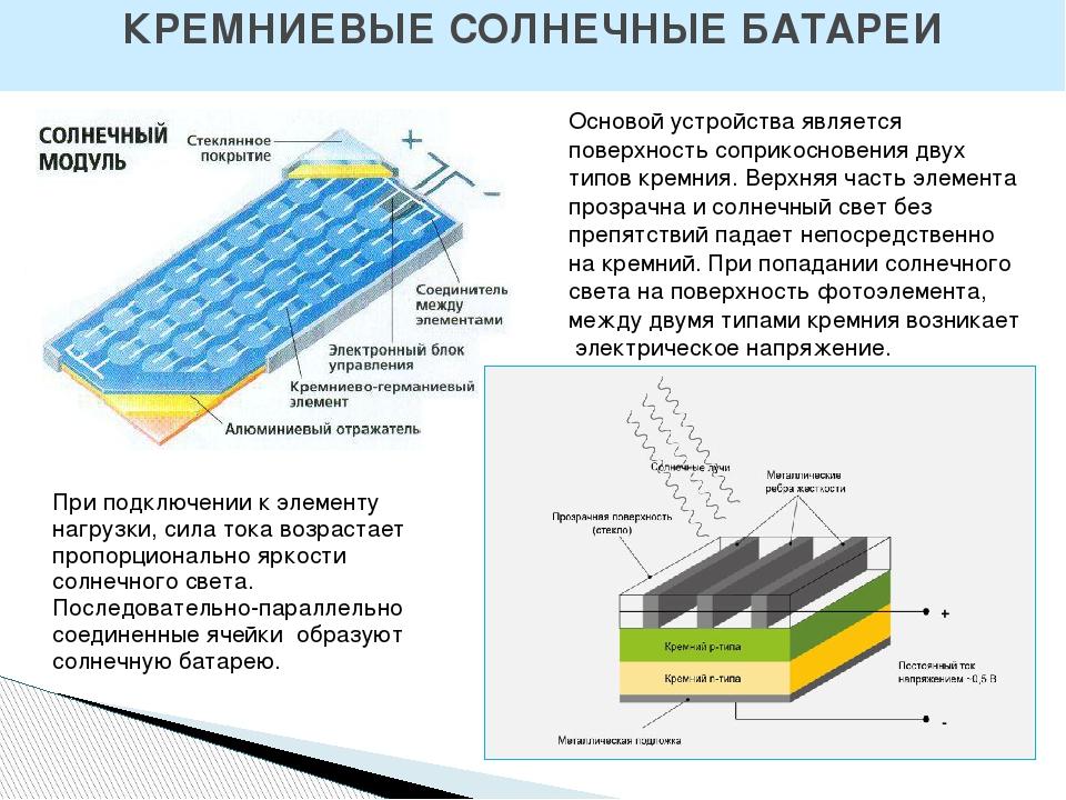 КРЕМНИЕВЫЕ СОЛНЕЧНЫЕ БАТАРЕИ Основой устройства является поверхность соприкос...