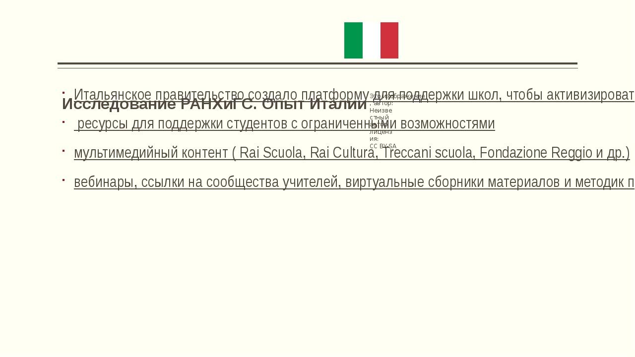 Исследование РАНХиГС. Опыт Италии Итальянское правительство создало платформ...