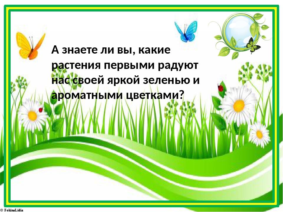 А знаете ли вы, какие растения первыми радуют нас своей яркой зеленью и арома...