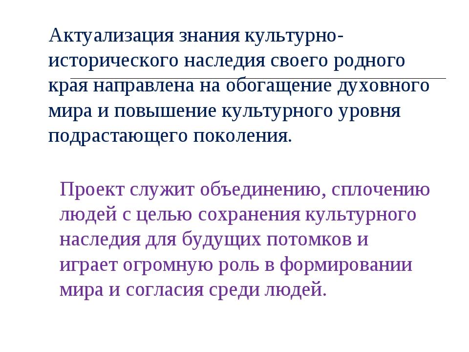 Актуализация знания культурно-исторического наследия своего родного края напр...