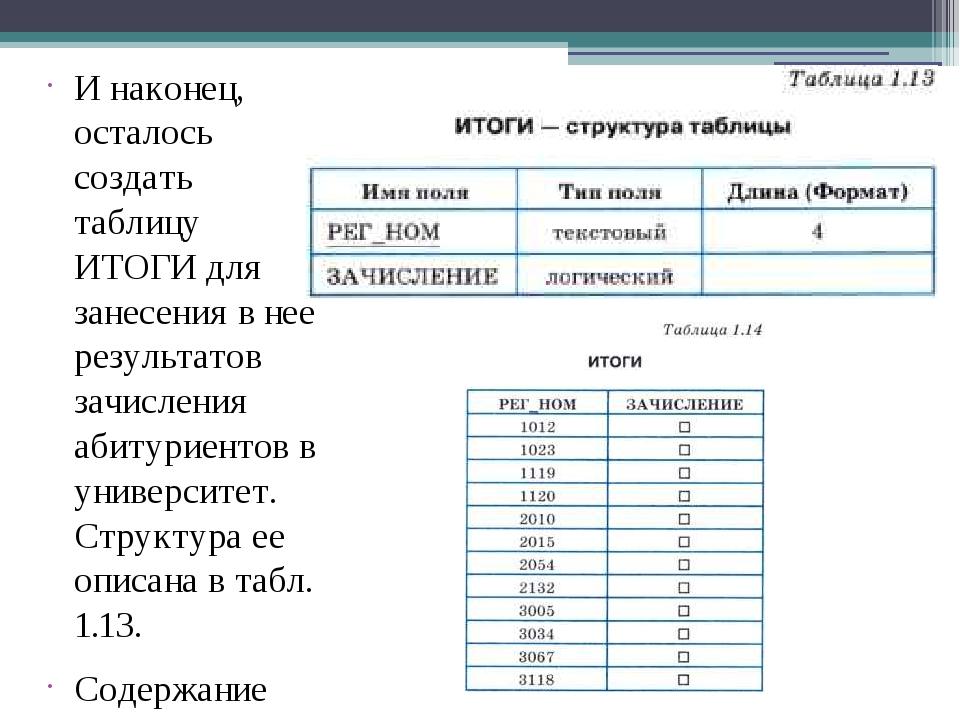 И наконец, осталось создать таблицу ИТОГИ для занесения в нее результатов зач...