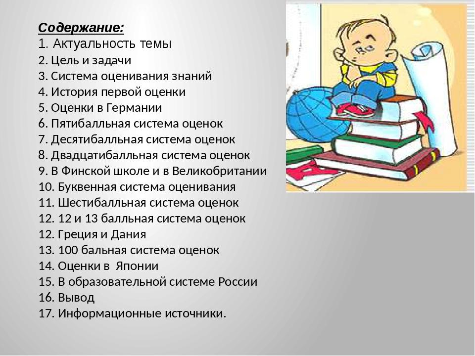 Содержание: 1. Актуальность темы 2. Цель и задачи 3. Система оценивания знани...