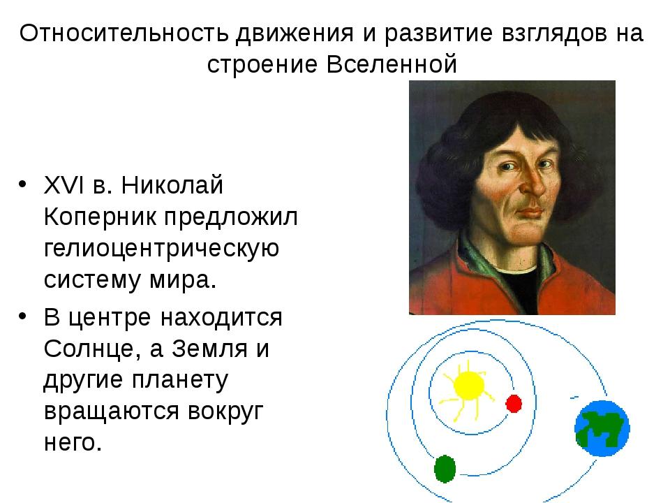 Относительность движения и развитие взглядов на строение Вселенной XVI в. Ник...