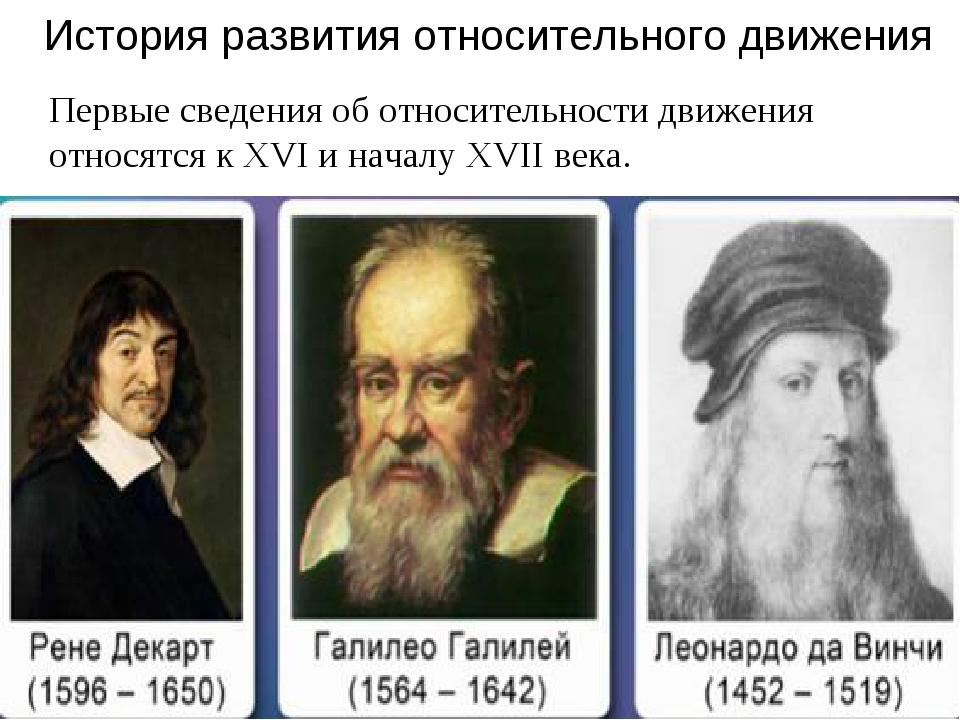 История развития относительного движения Первые сведения об относительности д...