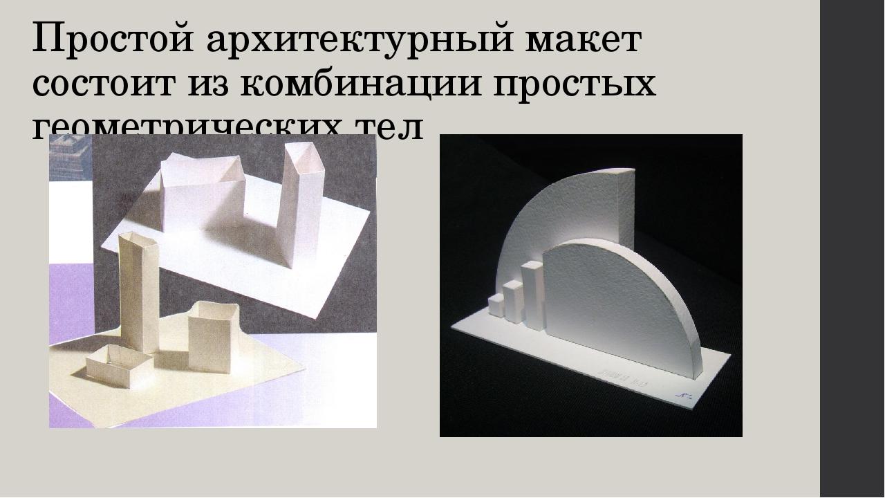 Простой архитектурный макет состоит из комбинации простых геометрических тел