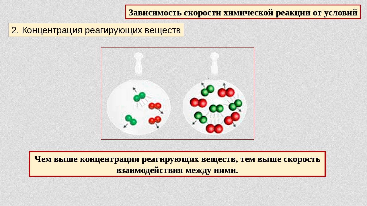 Зависимость скорости химической реакции от условий 2. Концентрация реагирующи...