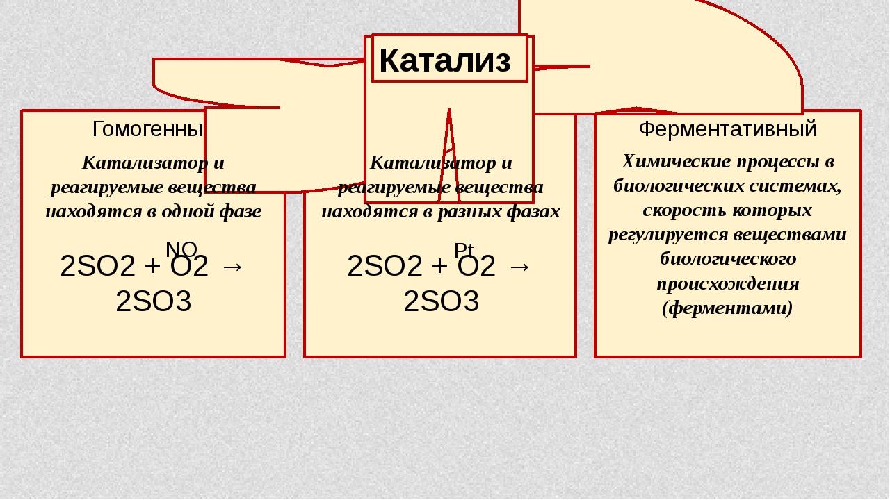 Гомогенный Гетерогенный Ферментативный Катализ Катализатор и реагируемые веще...