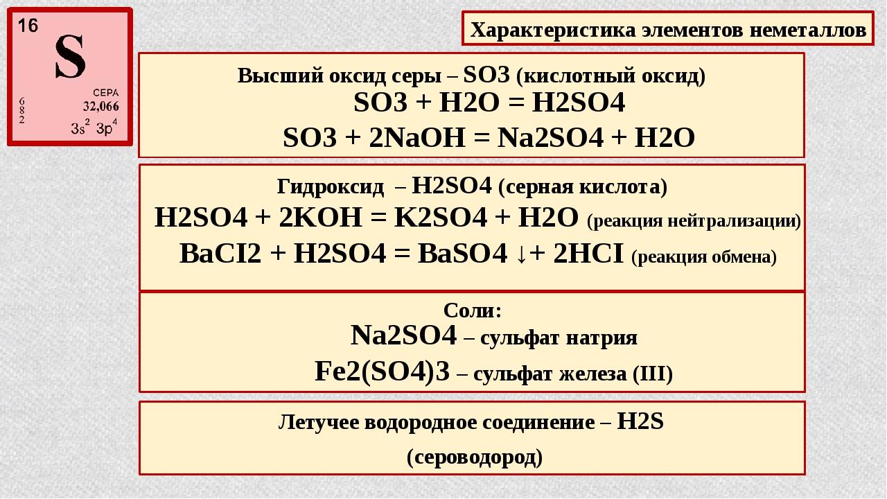 Высший оксид серы – SO3 (кислотный оксид) Гидроксид – H2SO4 (серная кислота)...