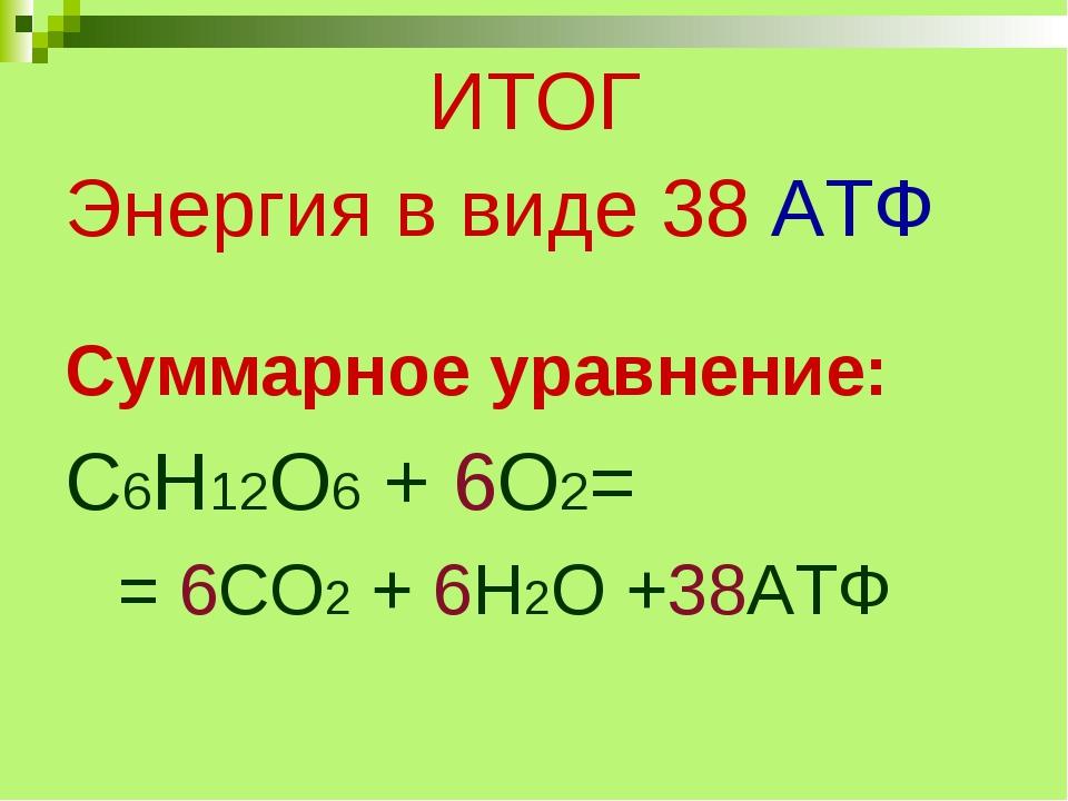 ИТОГ Энергия в виде 38 АТФ Суммарное уравнение: С6Н12О6 + 6О2= = 6СО2 + 6Н2О...
