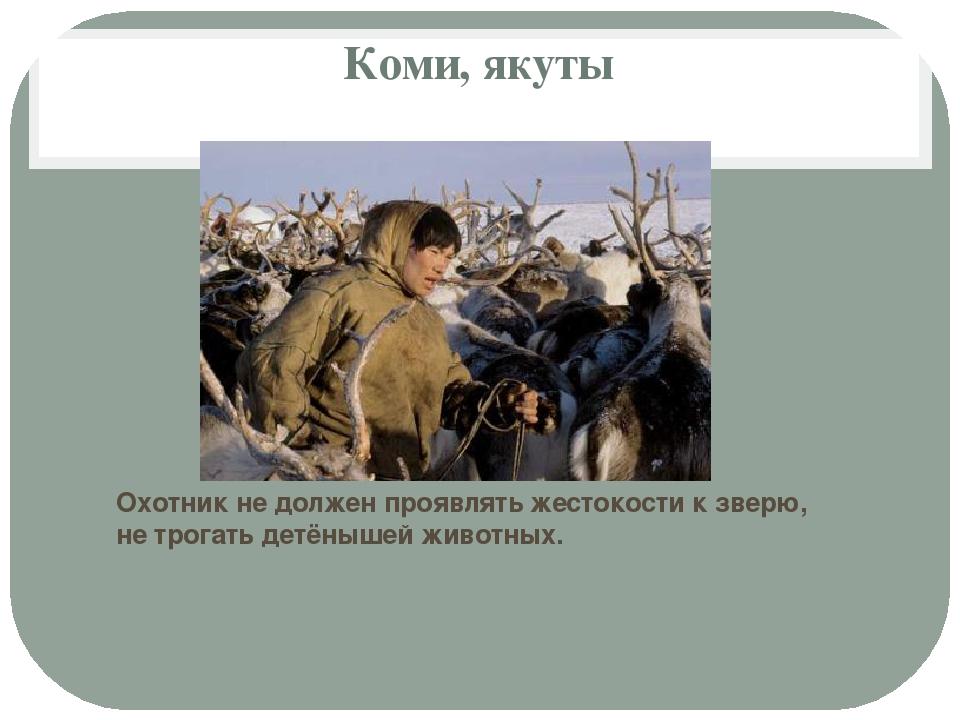 Коми, якуты Охотник не должен проявлять жестокости к зверю, не трогать детёны...