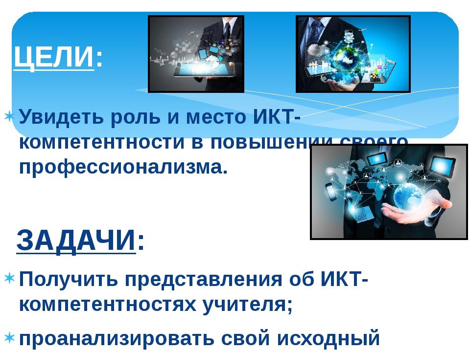 Увидеть роль и место ИКТ-компетентности в повышении своего профессионализма....