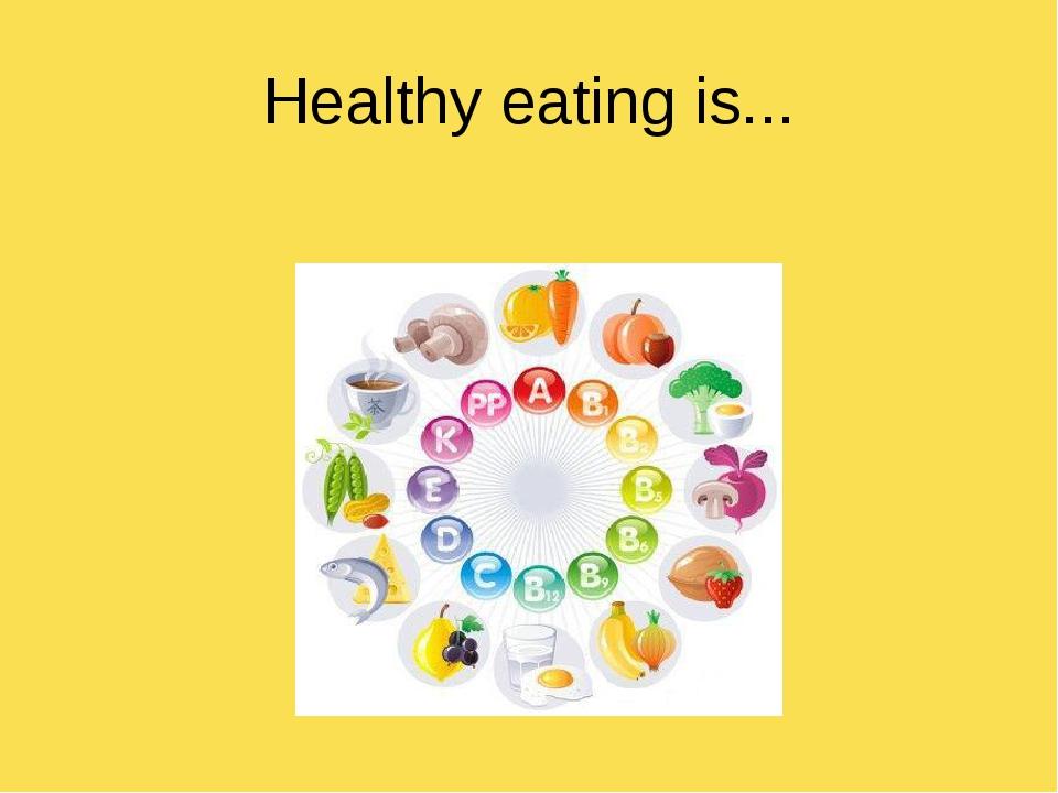 Healthy eating is...