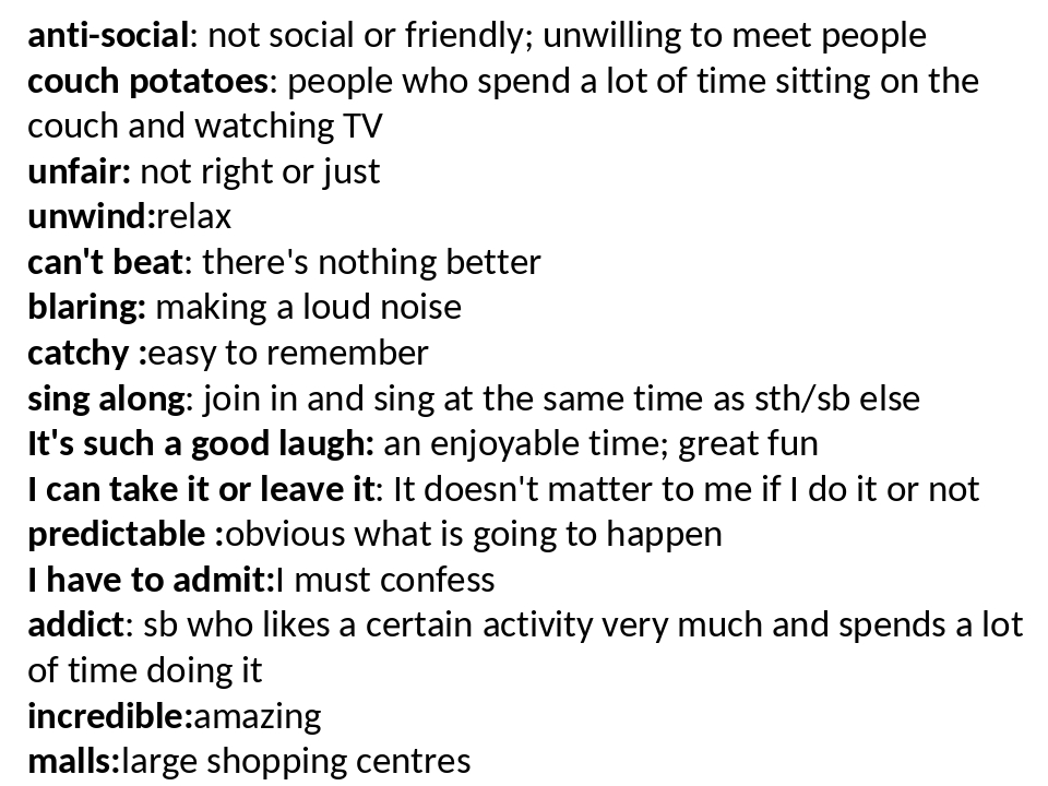 anti-social: not social or friendly; unwilling to meet people couch potatoes:...