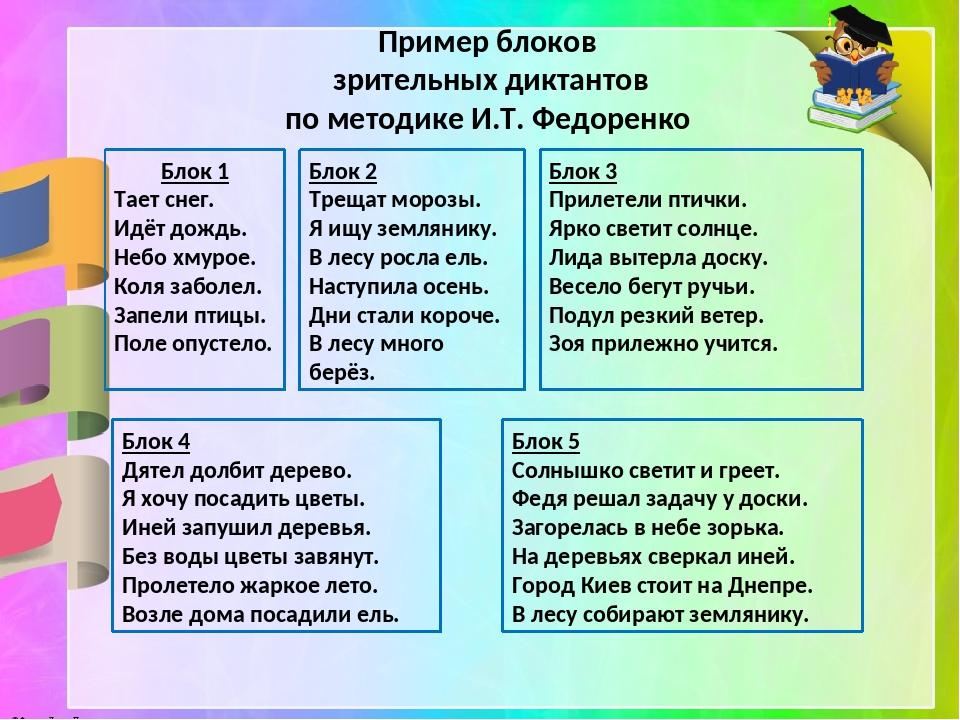 Пример блоков зрительных диктантов по методике И.Т. Федоренко Блок 1 Тает сн...