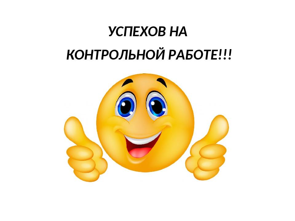 УСПЕХОВ НА КОНТРОЛЬНОЙ РАБОТЕ!!!