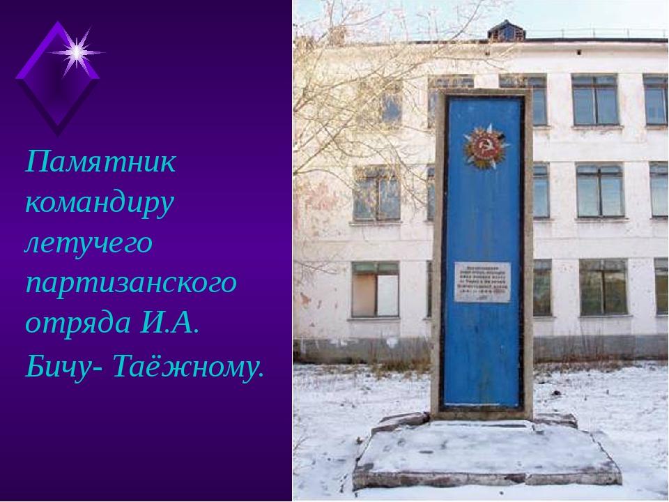 Памятник командиру летучего партизанского отряда И.А. Бичу- Таёжному.