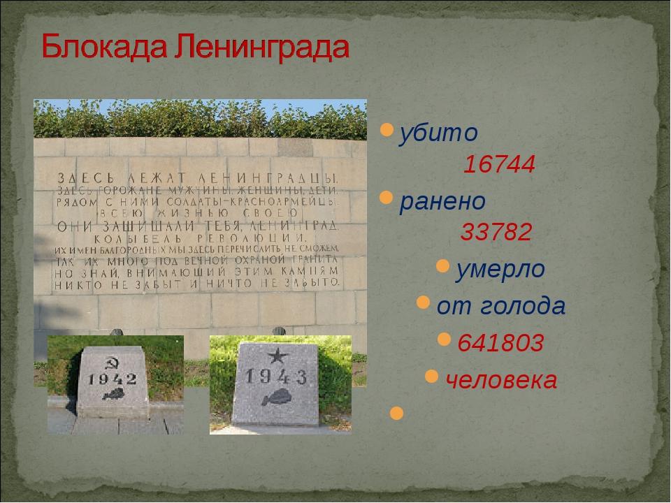 убито 16744 ранено 33782 умерло от голода 641803 человека