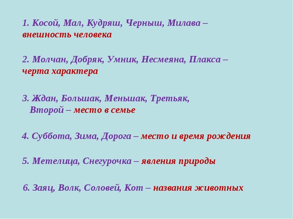1. Косой, Мал, Кудряш, Черныш, Милава – внешность человека 2. Молчан, Добряк,...