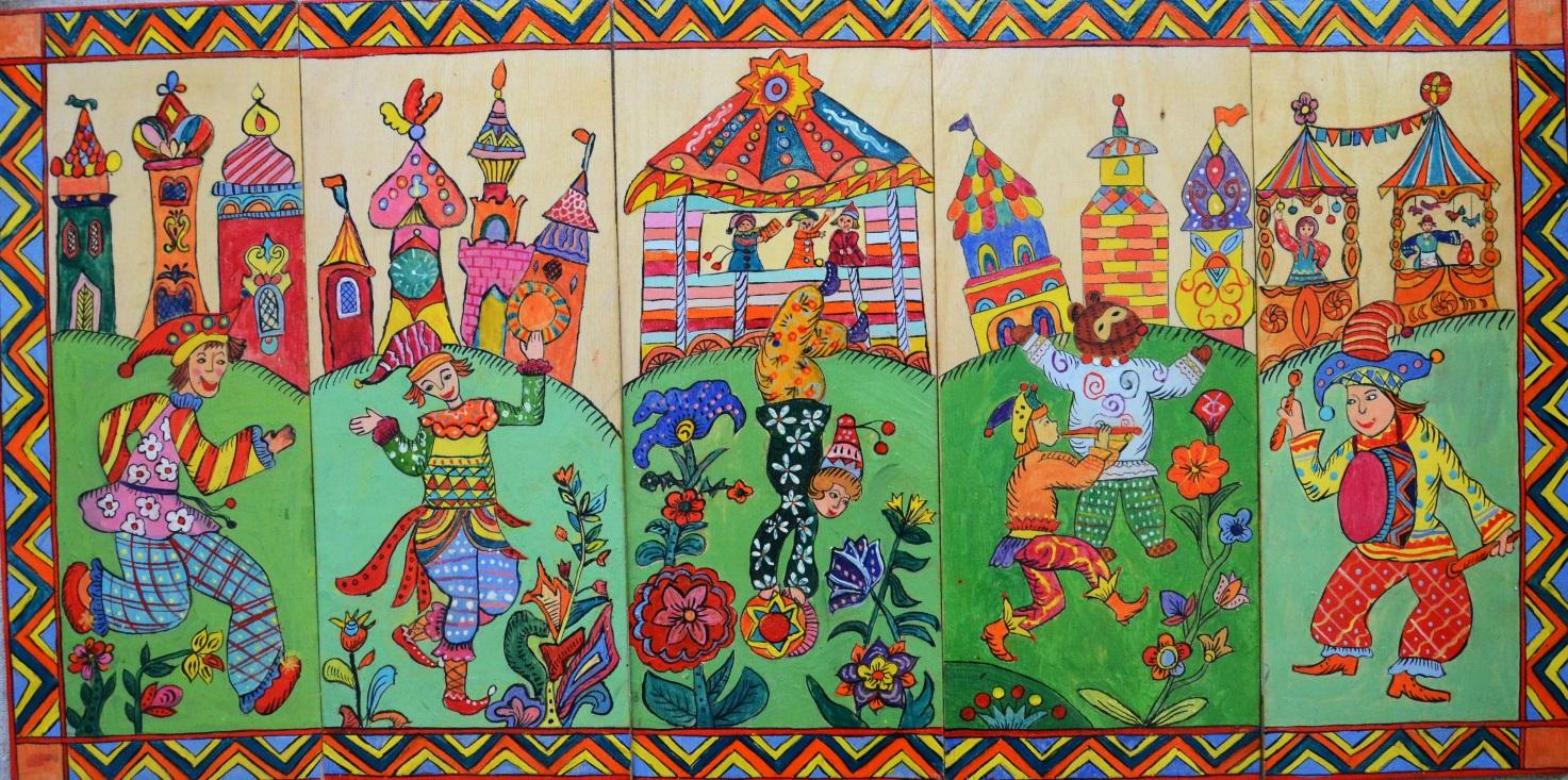 народная расписная картинка лубок декоративная композиция