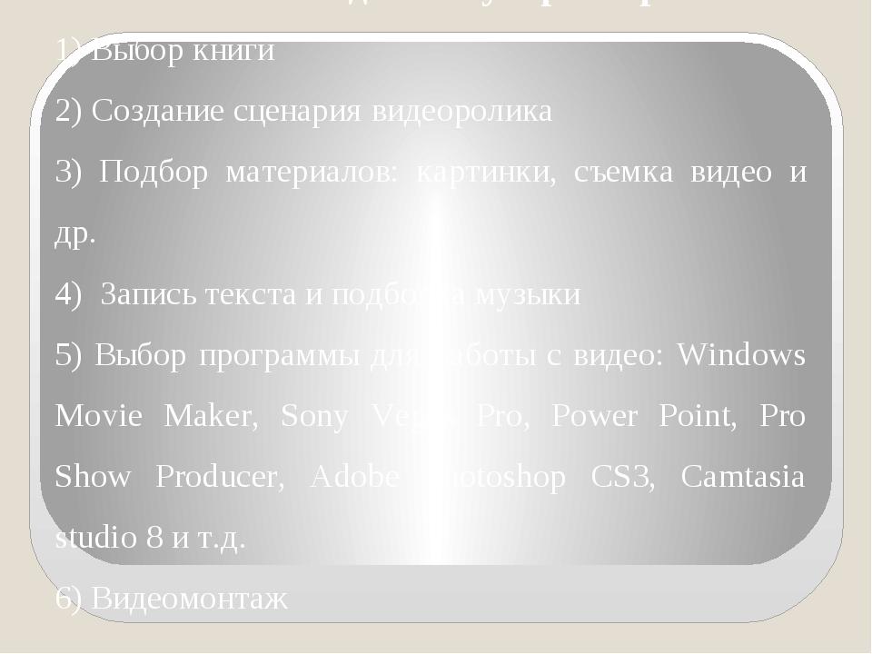 Этапы создания буктрейлера: 1) Выбор книги 2) Создание сценария видеоролика 3...