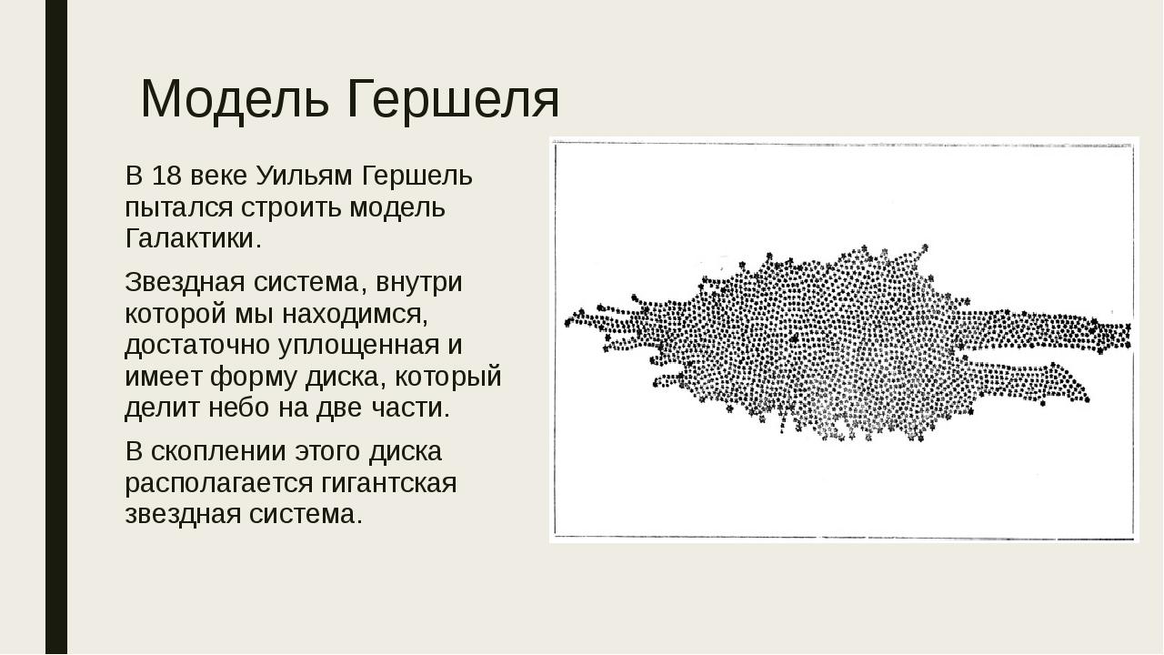 Модель Гершеля В 18 веке Уильям Гершель пытался строить модель Галактики. Зве...