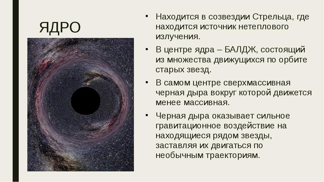ЯДРО Находится в созвездии Стрельца, где находится источник нетеплового излуч...