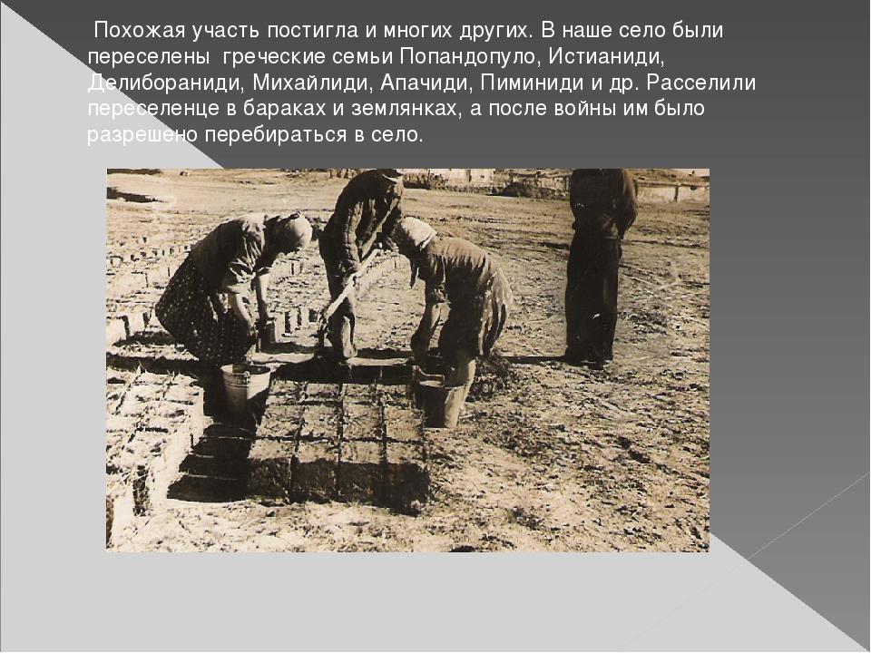 Похожая участь постигла и многих других. В наше село были переселены греческ...