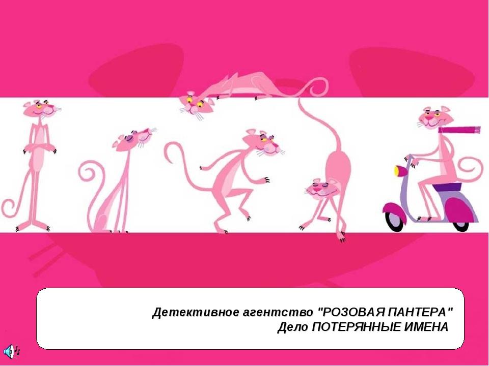 """Детективное агентство """"РОЗОВАЯ ПАНТЕРА"""" Дело ПОТЕРЯННЫЕ ИМЕНА"""