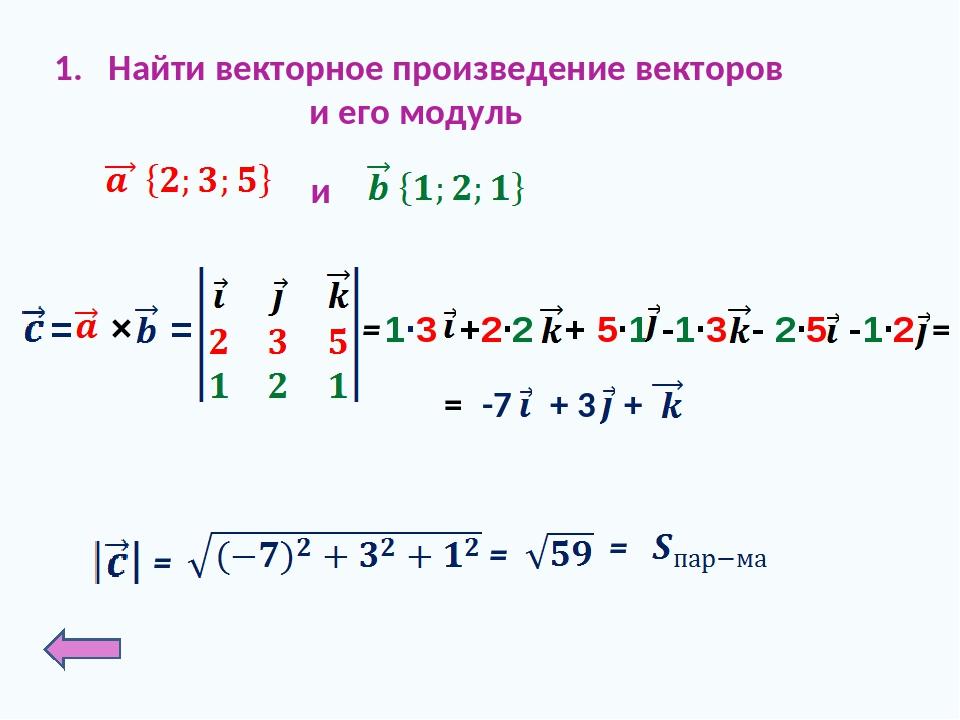 Найти векторное произведение векторов и его модуль и = = = = +