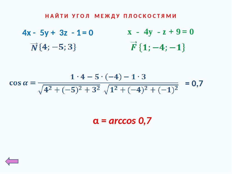 Н А Й Т И У Г О Л М Е Ж Д У П Л О С К О С Т Я М И x - 4y - z + 9 = 0 4x - 5y...