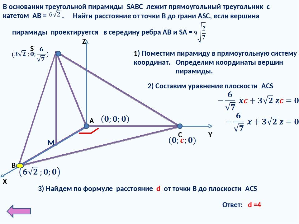 X Y Z 1) Поместим пирамиду в прямоугольную систему координат. В основании тр...