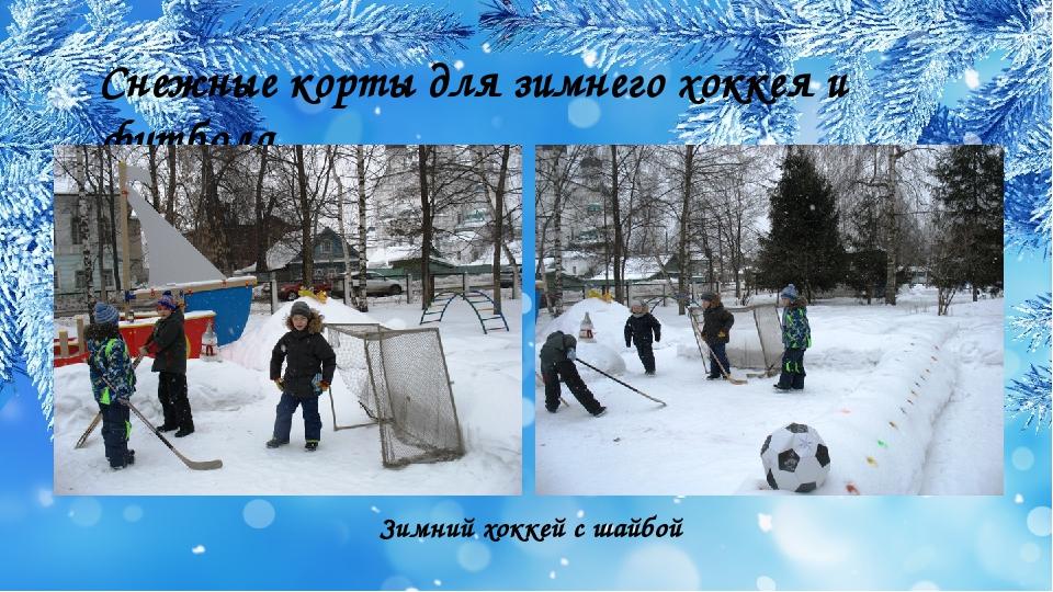 Снежные корты для зимнего хоккея и футбола Зимний хоккей с шайбой