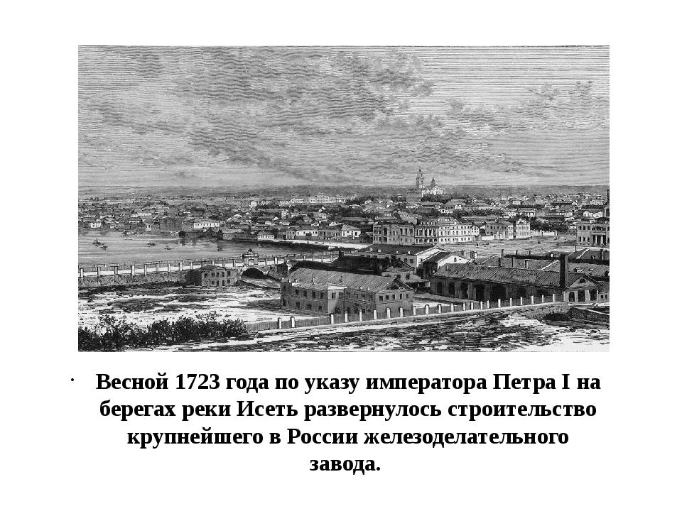 Весной 1723 года по указу императора Петра I на берегах реки Исеть развернул...