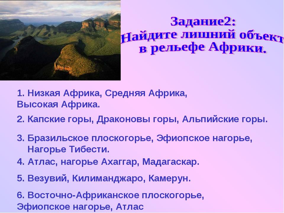 6. Восточно-Африканское плоскогорье, Эфиопское нагорье, Атлас 1. Низкая Африк...