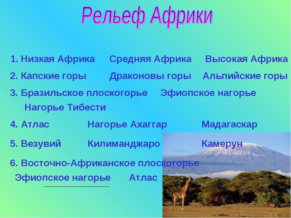 1. Низкая Африка Средняя Африка Высокая Африка 2. Капские горы Драконовы горы...