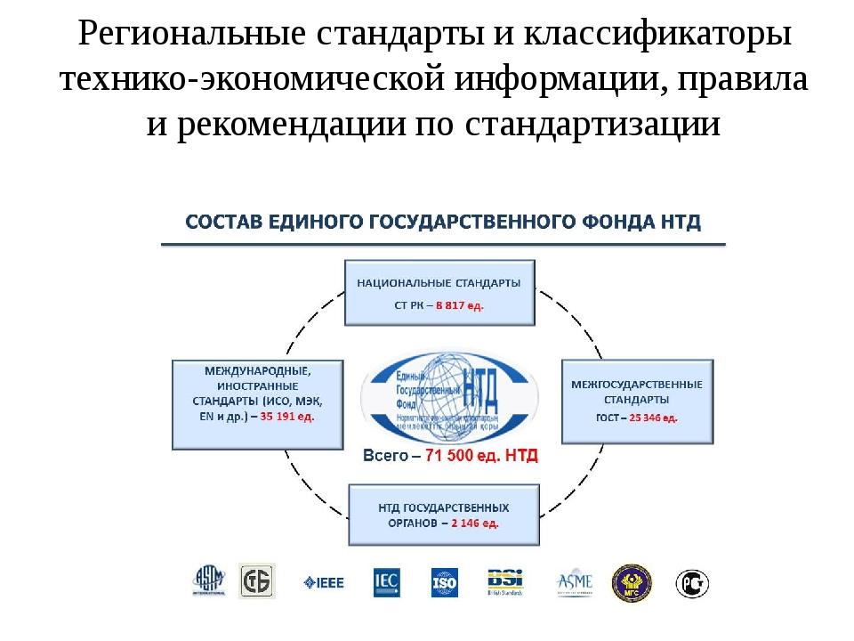 Региональные стандарты и классификаторы технико-экономической информации, пра...