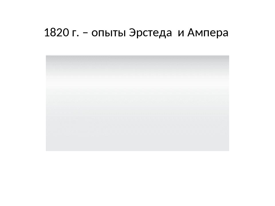 1820 г. – опыты Эрстеда и Ампера
