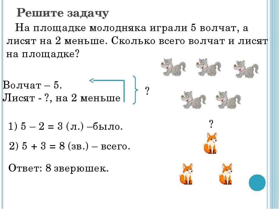 На площатке молодняка играли 5 волчат, а лисят на 2 меньше сколько ...   720x960