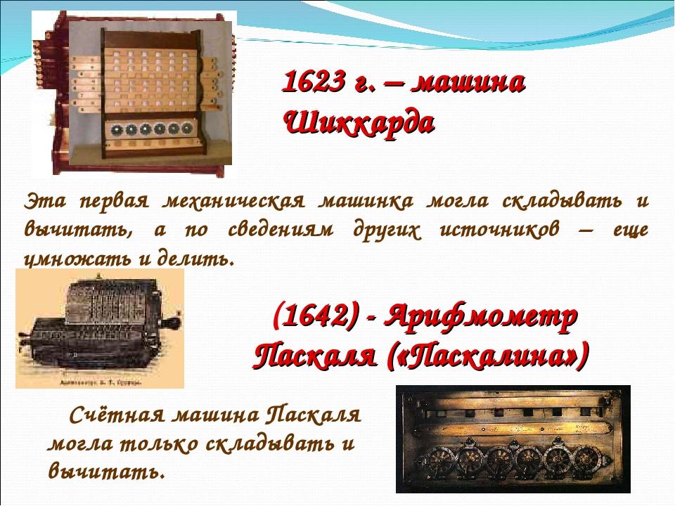 1623 г. – машина Шиккарда Эта первая механическая машинка могла складывать и...