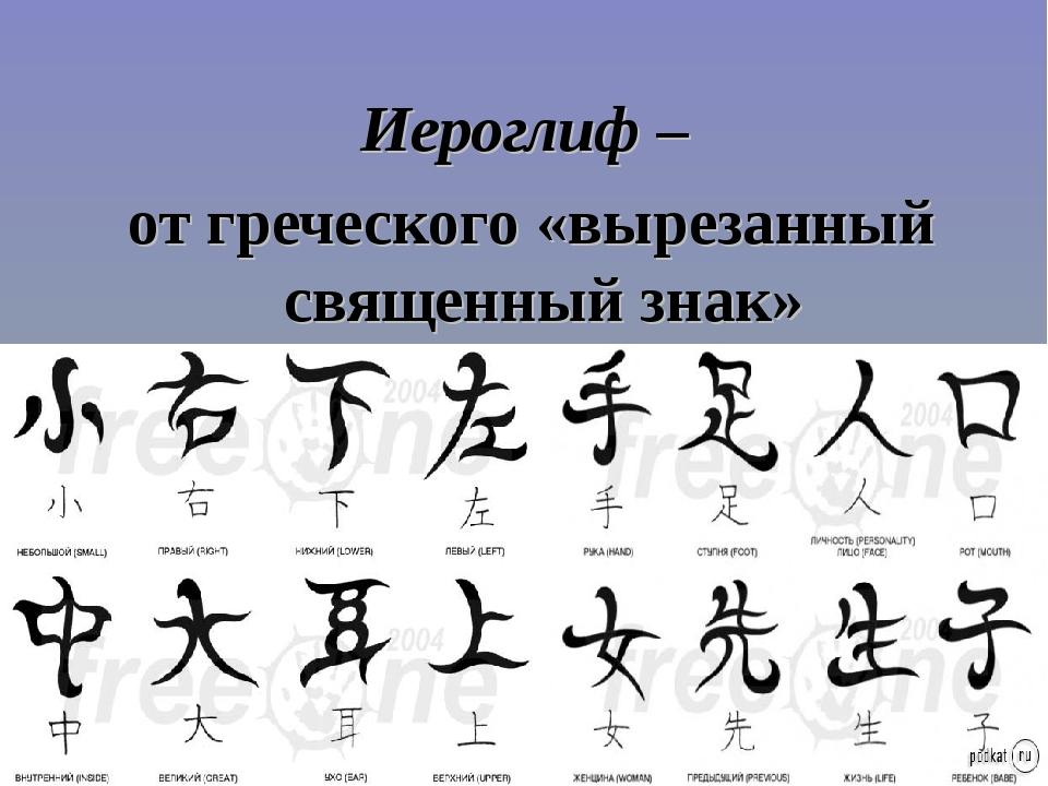 Иероглиф – от греческого «вырезанный священный знак»