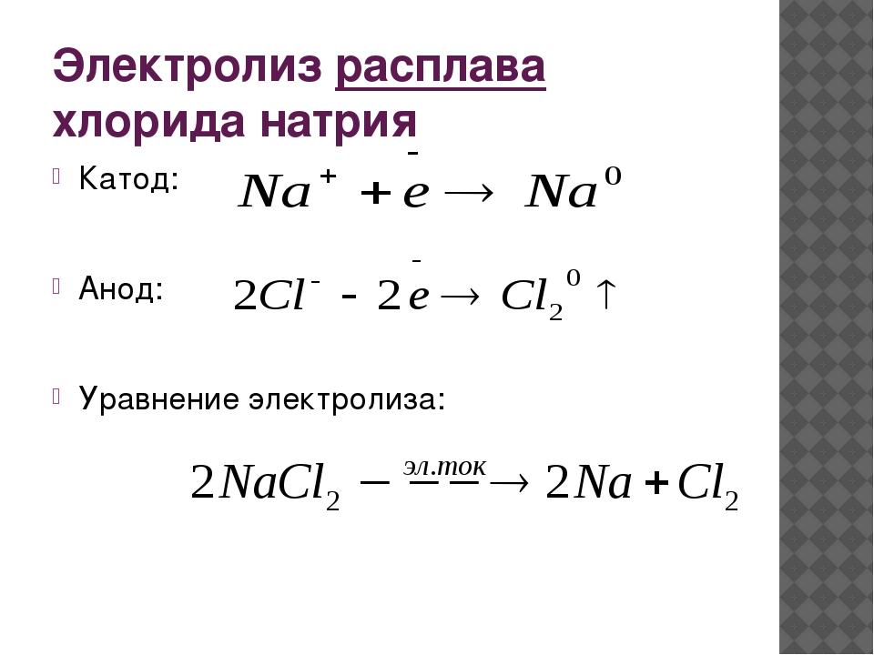 Электролиз расплава хлорида натрия Катод: Анод:  Уравнение электролиза: