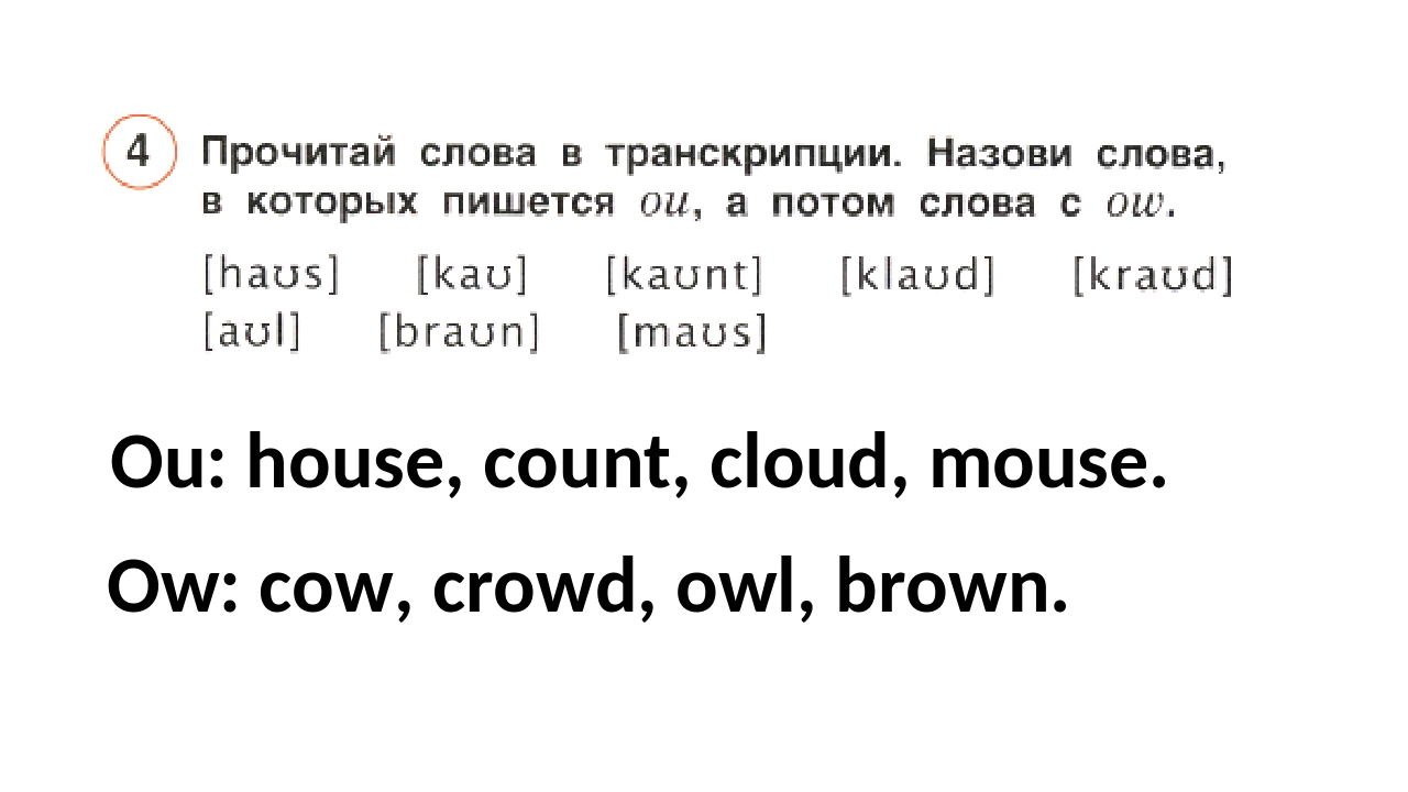 Ou: house, count, cloud, mouse. Ow: cow, crowd, owl, brown.