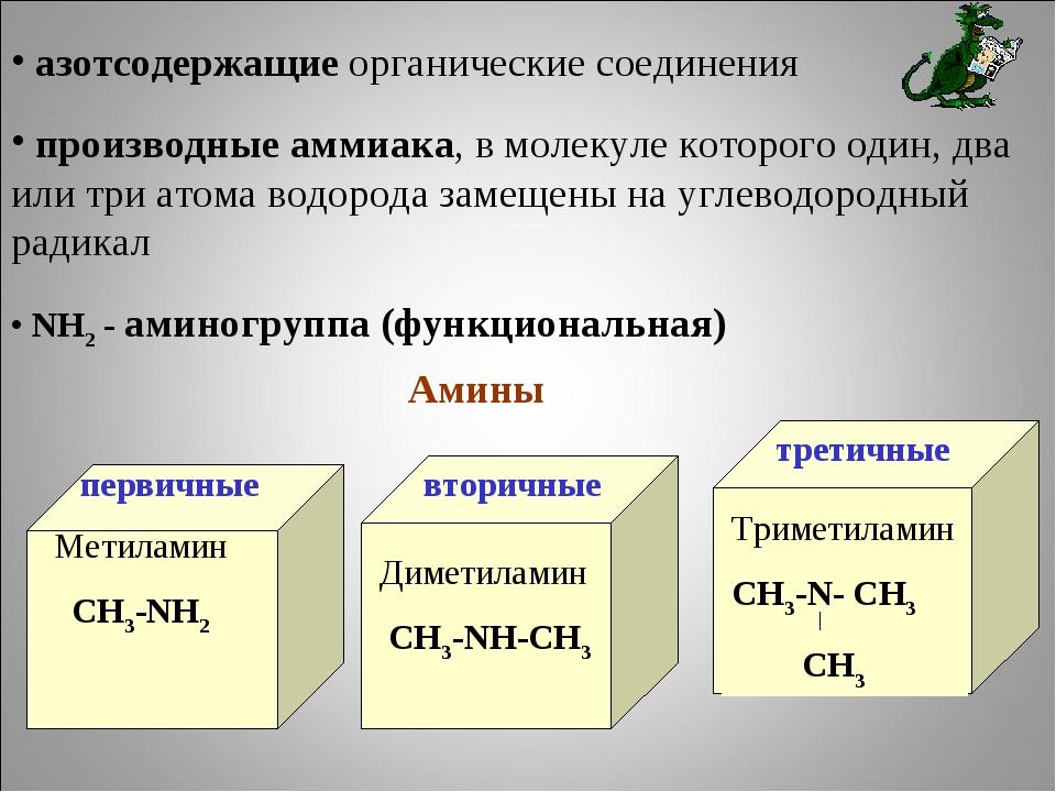 азотсодержащие органические соединения производные аммиака, в молекуле котор...
