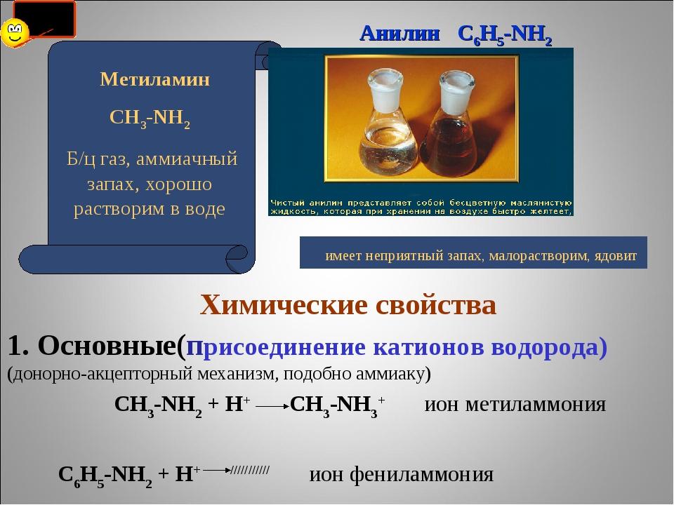Химические свойства 1. Основные(присоединение катионов водорода) (донорно-ак...