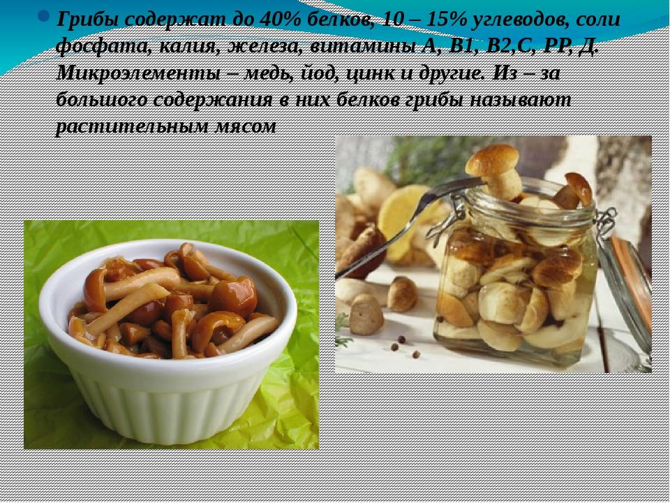 Грибы содержат до 40% белков, 10 – 15% углеводов, соли фосфата, калия, железа...