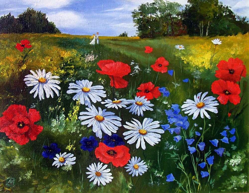 Детские картинки поле цветов